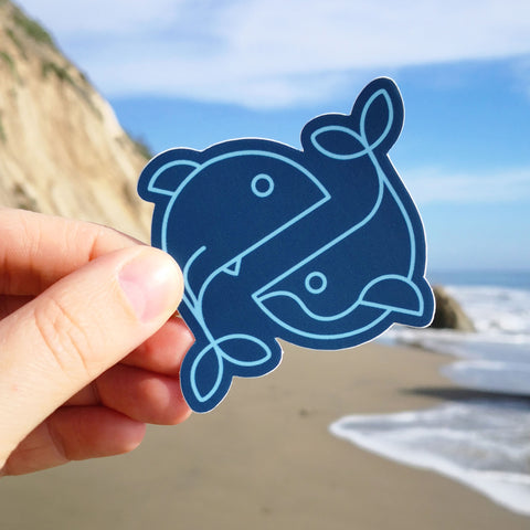 Whale & Dolphin Sticker – Die Cut