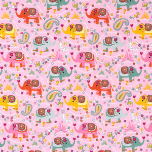 Pink Elephants Cotton Jersey Fabric-Adam Ross Fabrics
