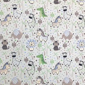 Cartoon Zoo Animals Cotton Jersey Fabric-Adam Ross Fabrics