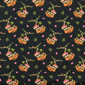 Hanging Sloths Cotton Jersey Fabric-Adam Ross Fabrics
