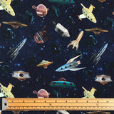 Spaceships Cotton Jersey Fabric-Adam Ross Fabrics