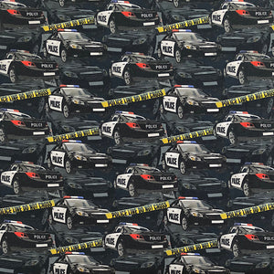 Police Car Cotton Jersey Fabric-Adam Ross Fabrics