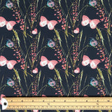 Pink and Blue Butterflies Cotton Jersey Fabric-Adam Ross Fabrics