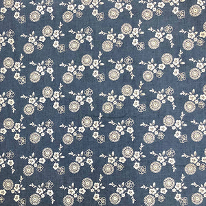 Floral Bunch Chambray Denim Fabric-Adam Ross Fabrics