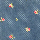 Embroidered Rose Chambray Denim Fabric-Adam Ross Fabrics