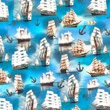 Sailing Ships Cotton Jersey Fabric-Adam Ross Fabrics