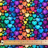Multicolour Hearts Cotton Jersey Fabric
