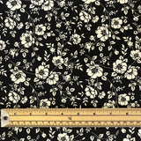 Black and Ivory Floral Cotton Fabric-Adam Ross Fabrics