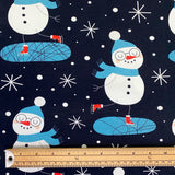 Skating Snowmen Cotton Jersey Fabric