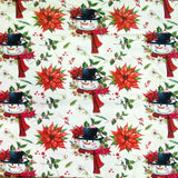 Snowman Face Cotton Jersey Fabric