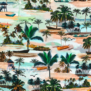 Tropical Island Cotton Jersey Fabric-Adam Ross Fabrics
