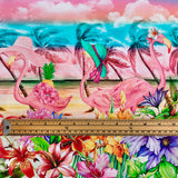 Tropical Double Border Cotton Jersey Fabric-Adam Ross Fabrics