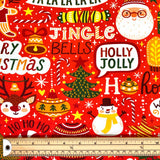 Christmas Carols Cotton Jersey Fabric