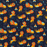 Sleeping Lions Cotton Jersey Fabric-Adam Ross Fabrics