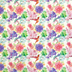 Floral Hummingbird Cotton Fabric - Little Johnny-Adam Ross Fabrics
