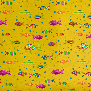 Multicolour Fish Cotton Jersey Fabric-Adam Ross Fabrics