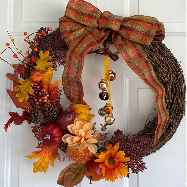 Fall Harvest Grapevine Wreath with Bells & Bow