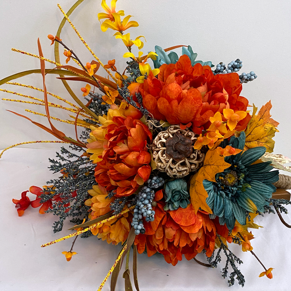 Orange and Teal Autumn Silk Floral Bridal Bouquet