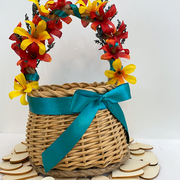 Orange and Teal Autumn Flower Girl Basket with Wooden Hearts