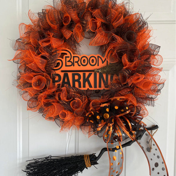 Broom Parking Orange and Black Decorative Mesh Halloween Wreath