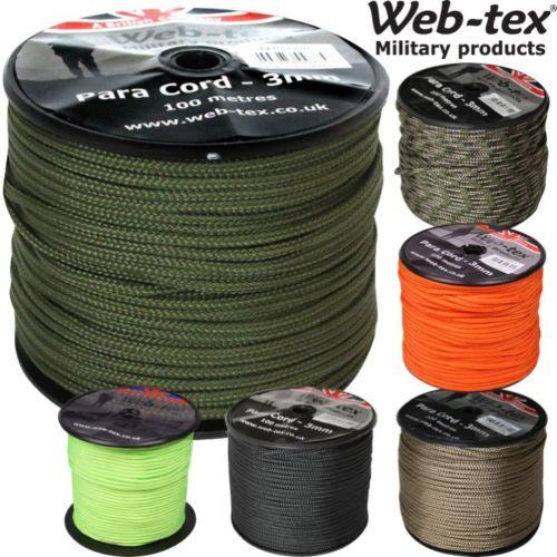Web-tex Paracord 3mm x 100m - AirGuns-Liverpool