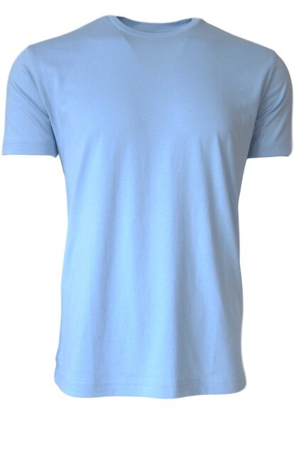 Luxury Crew-Neck Short Sleeves Pima Cotton Mens Tshirt Sky Blue TCSS-5012