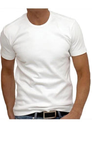 Luxury Crew-Neck Short Sleeves Pima Cotton Mens Tshirt White TCSS-1013