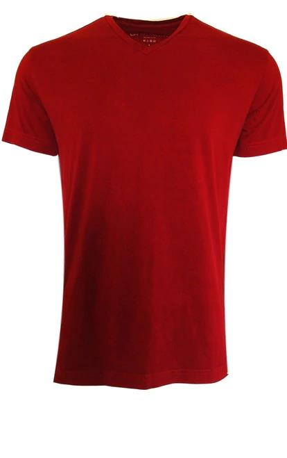 Luxury V Neck Short Sleeves Pima Cotton Mens Tshirt Red TVSS-3022