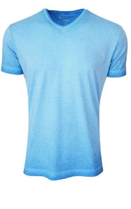 Luxury V Neck Short Sleeves Pima Cotton Mens Tshirt TVSS-5111 Turquoise