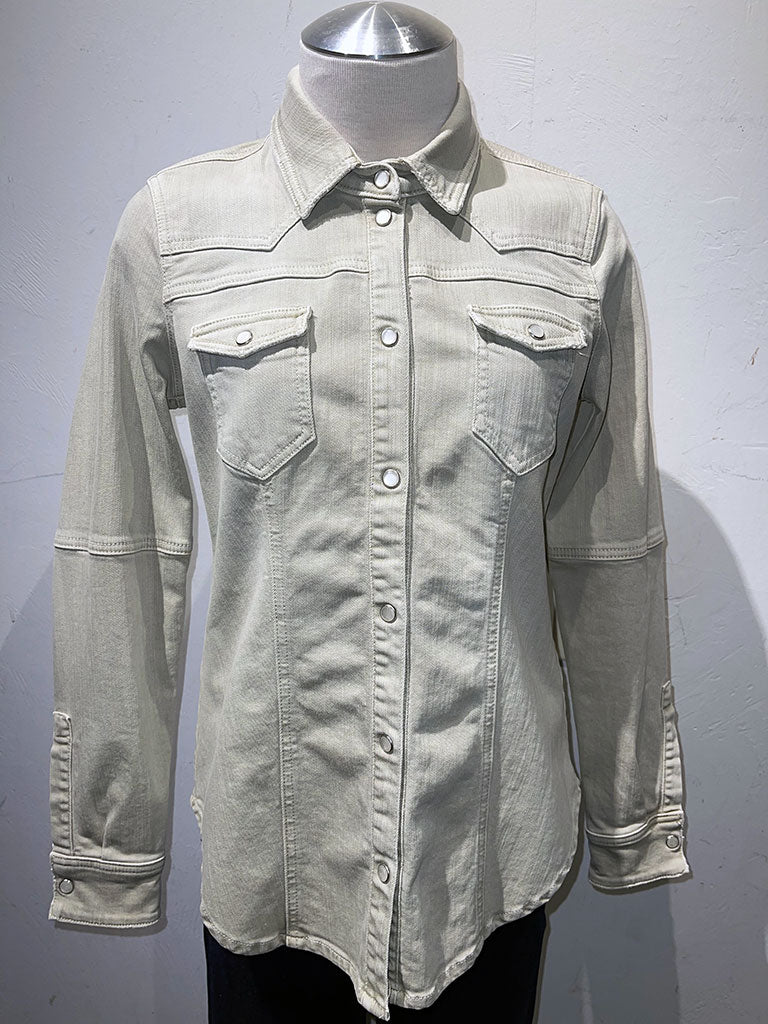 Famous4 Private Label Fitted Jean/Shirt Jacket HBT Clorofilla