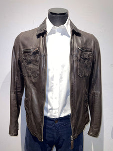 Gimos Dark Brown Leather Coat
