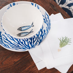 Coral supper bowl - navy blue coral