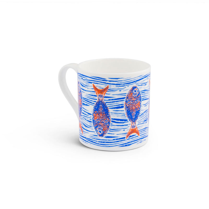 Rick Stein - Set of 2 - Blue wave mug with royal blue/orange fish