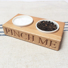 Culinary Concepts - Salt & Pepper Holder with Porcelain Dishes