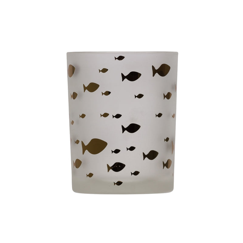 Chehoma White Candle Holder with Gold Fish