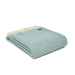 Tweedmill - Woollen Diagonal, Petrol Blue Throw