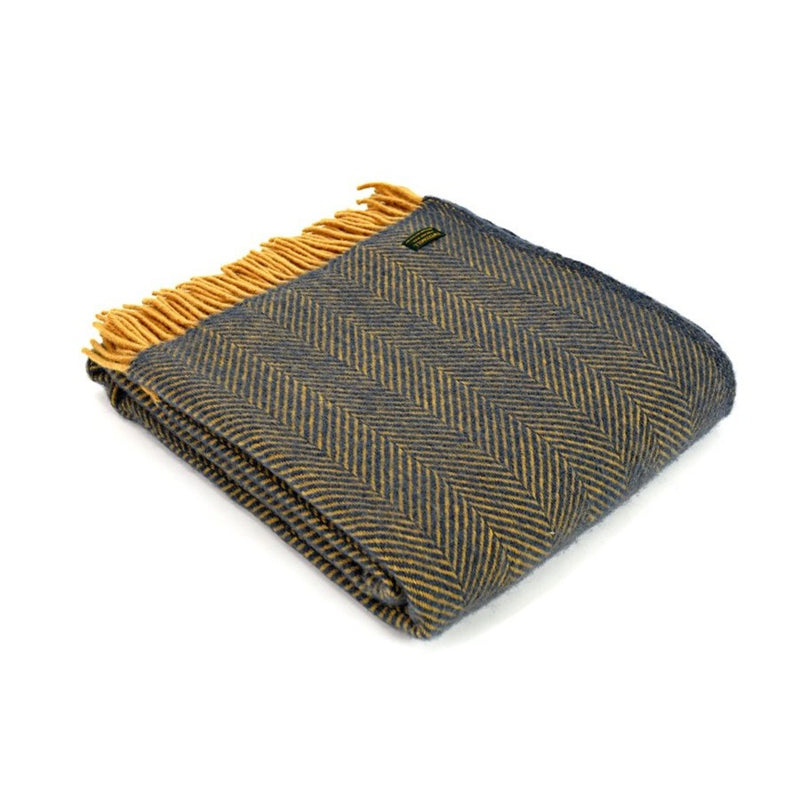 Tweedmill - Woollen Check, Ink and Yellow Throw