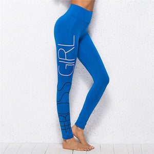 Skinny Workout Leggings Letter Print Side