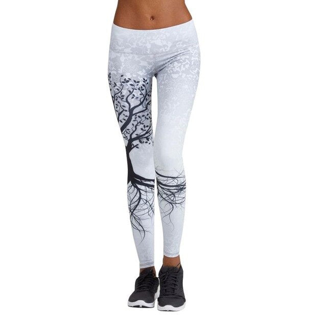 Elastic Waist Push Up Tree Printed Fitness Serenity Leggings