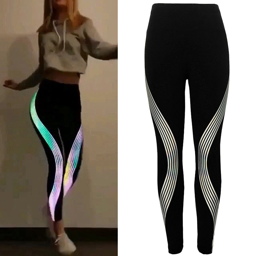 Casual Slim Reflective Material Printed Fitness Leggings