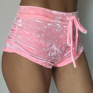 Women velvet drawstring shorts