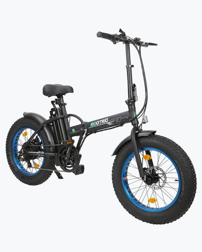 Portable and Folding Fat Tire Electric Bike - Matt Black