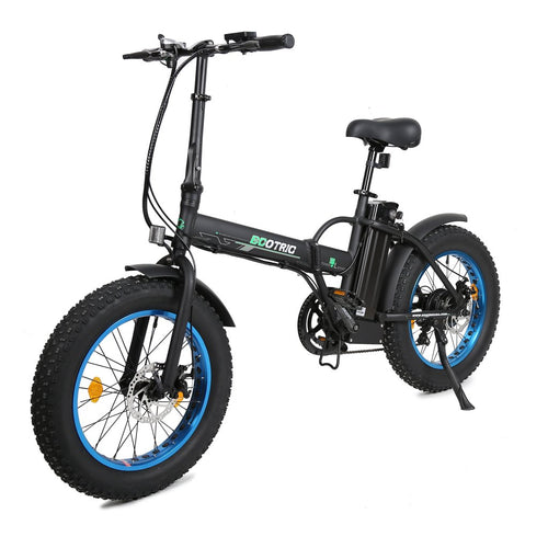 Portable & Folding Electric Bike 48V Fat Tire With LCD display - Black and Blue