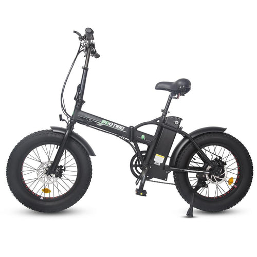 Matt Black 48V folding fat ebike with LCD display