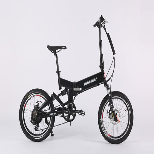 Black Mini Folding Electric Bicycle X-Treme E-Rider 48 Volt