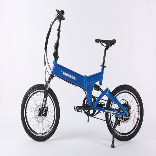 Blue Mini Folding Electric Bicycle X-Treme E-Rider 48 Volt