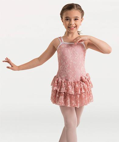 Mesh Flower Ruffle Skirt Dance Dress - GIRLS