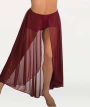 Long Length Open Front Chiffon Skirt - WOMENS