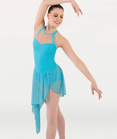 Asymetrical Sheer Skirted Dance Dress - GIRLS