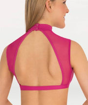 Mock Neck Wide Open Back Bra Dance Top -WOMENS